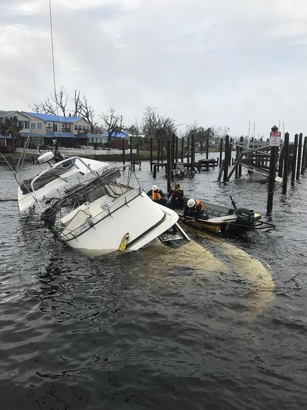 hurricane michael - sunken boat